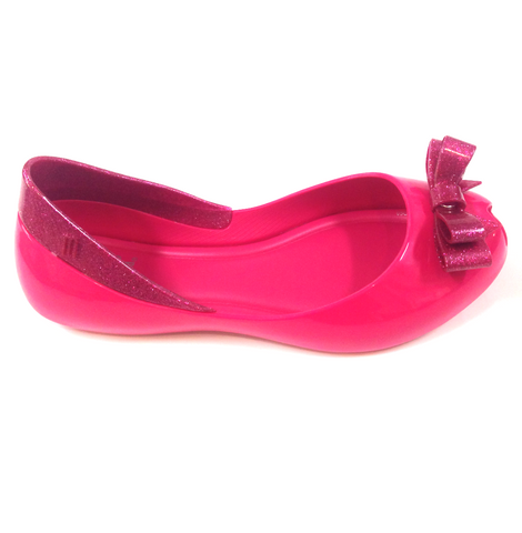 Melissa Hot Pink Sparkle Bow Jelly-Tassel Children Shoes