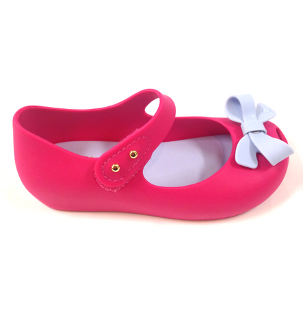 Mini Melissa Hot Pink and Blue Bow Jelly-Tassel Children Shoes