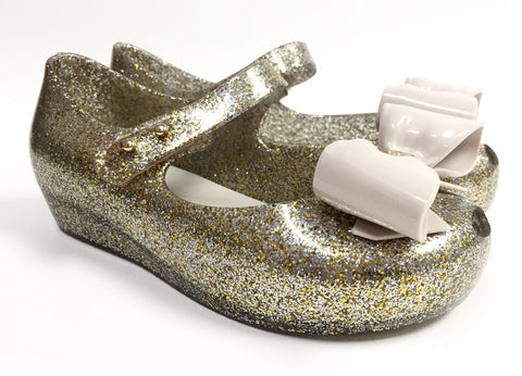 Mini Melissa Mixed Golden Glitter Bow Jelly-Tassel Children Shoes