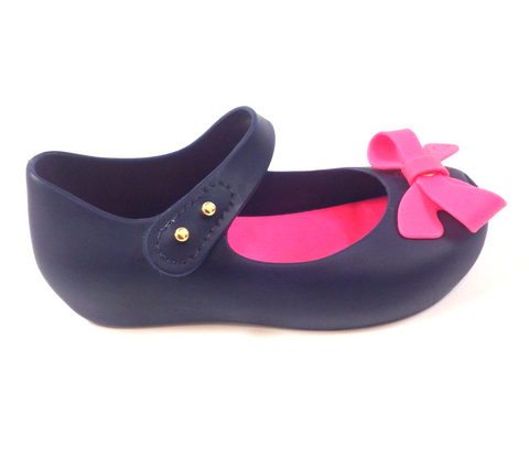 Mini Melissa Navy and Hot Pink Bow Jelly-Tassel Children Shoes