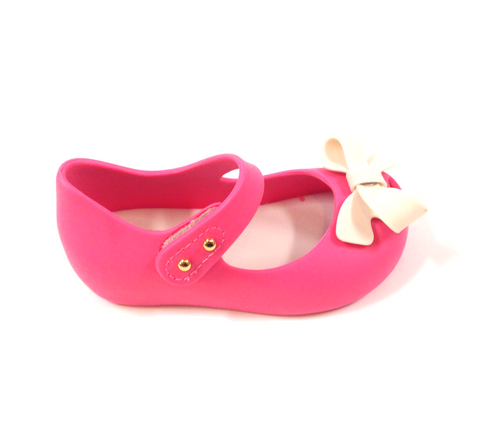 Mini Melissa Pink and White Bow Jelly-Tassel Children Shoes