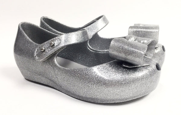 Mini Melissa Silver Glitter Bow Jelly-Tassel Children Shoes