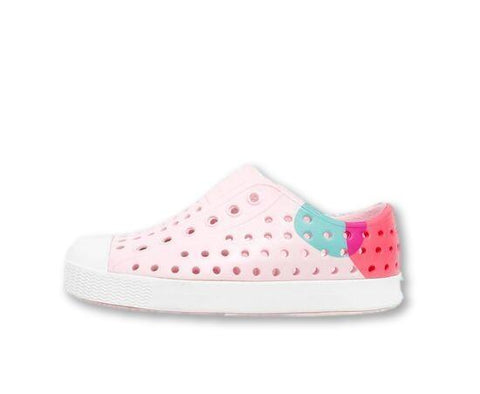 Native Jefferson Milk Pink/ Shell White/ Dot Block-Tassel Children Shoes
