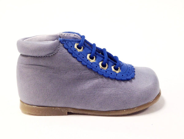 Nens Gray Leather Shoe with Leather Trim-Tassel Children Shoes