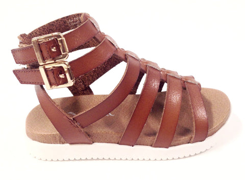 Nina Camel Gladiator Velcro Sandal-Tassel Children Shoes