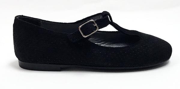 Papanatas Black Suede Perforated T-strap-Tassel Children Shoes