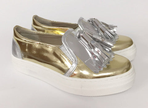 Papanatas Gold Tassel Slip-on Sneaker-Tassel Children Shoes