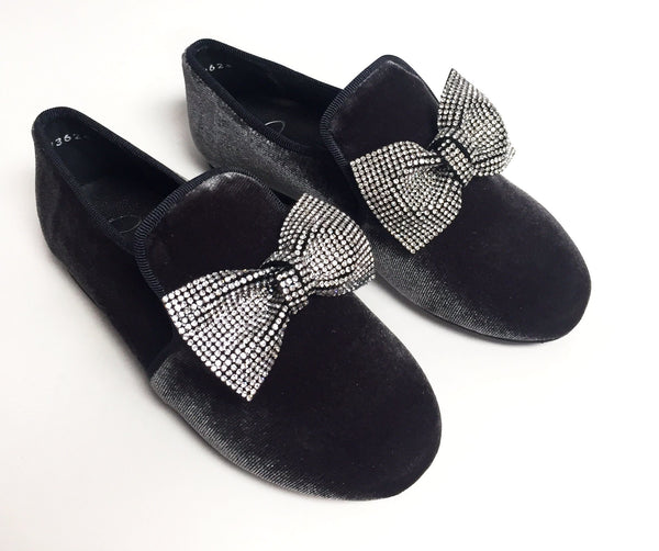 Papanatas Gray Velvet Bow Slip-on-Tassel Children Shoes