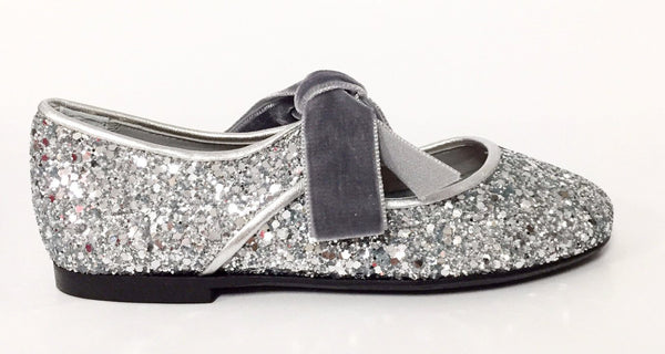 Papanatas Silver Glitter Open Oxford-Tassel Children Shoes