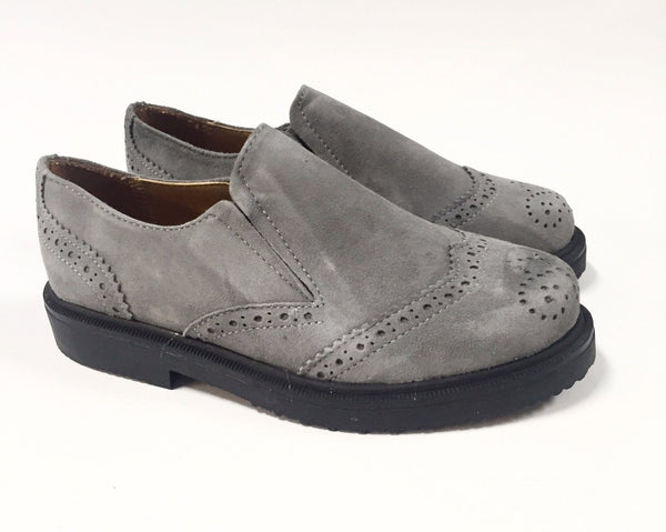 Papanatas Suede Gray Slip-on Oxford-Tassel Children Shoes