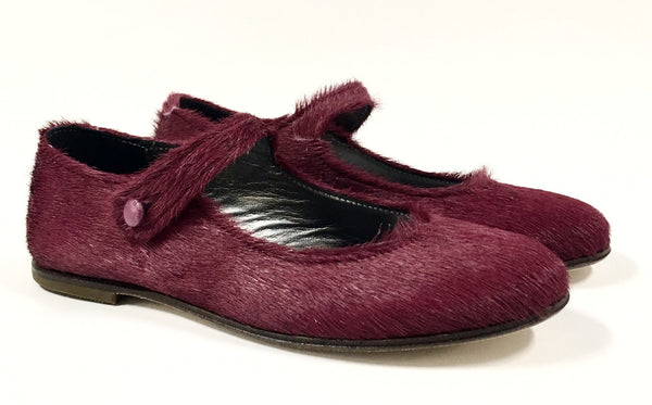 PePe Maroon Pony Hair Mary Jane-Tassel Children Shoes