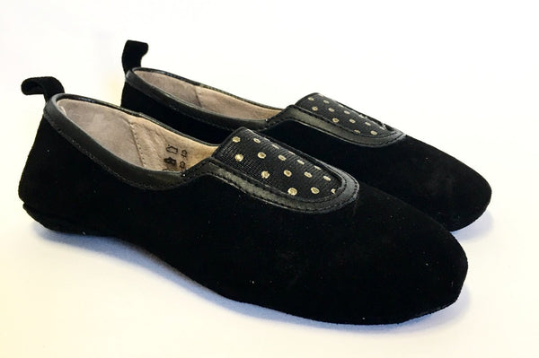 Pom D'Api Black Suede Slipper-Tassel Children Shoes