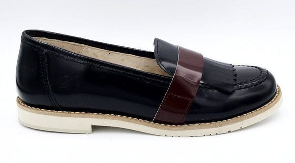 Sonatina Black and Burgundy Fringe Loafer-Tassel Children Shoes