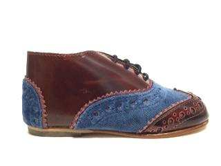 Sonatina Blue Velvet and Cherry Oxford-Tassel Children Shoes