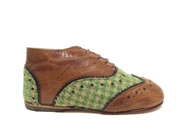 Sonatina Green and Cognac Oxford-Tassel Children Shoes
