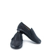 Hoo Black Leather Weave Smoking Loafer-Tassel Children Shoes