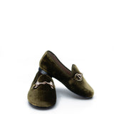 Hoo Olive Velvet Chain Smoking Loafer-Tassel Children Shoes
