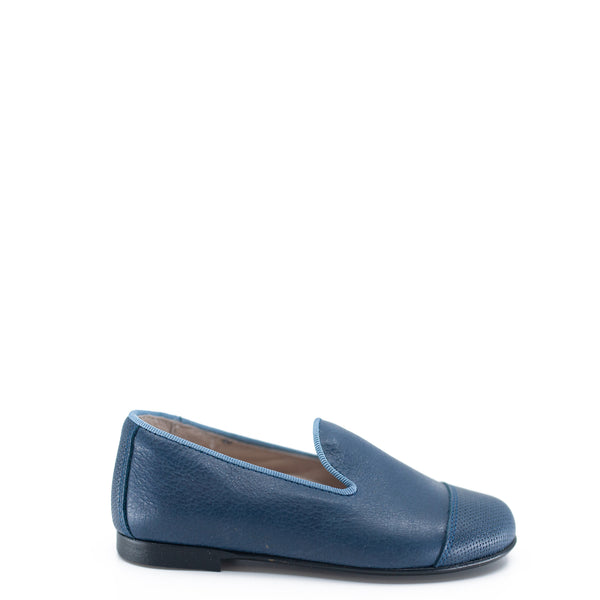 Hoo Blue Textured Cap Toe Smoking Loafer-Tassel Children Shoes