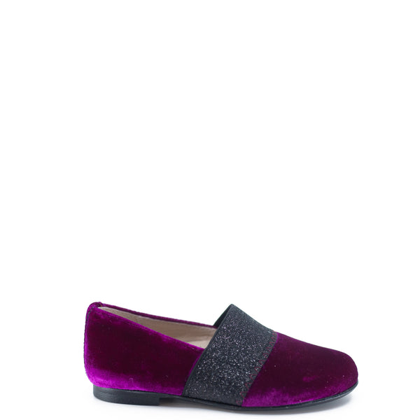 Hoo Fuchsia Velvet Sparkle Elastic Loafer-Tassel Children Shoes