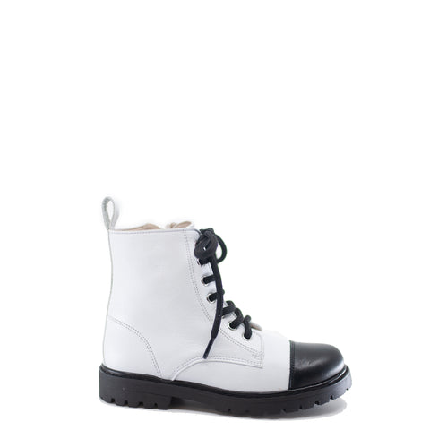 Hoo White Cap Toe Combat Boot-Tassel Children Shoes