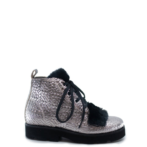 Blublonc Metal Weave Fur Lace Up Bootie-Tassel Children Shoes