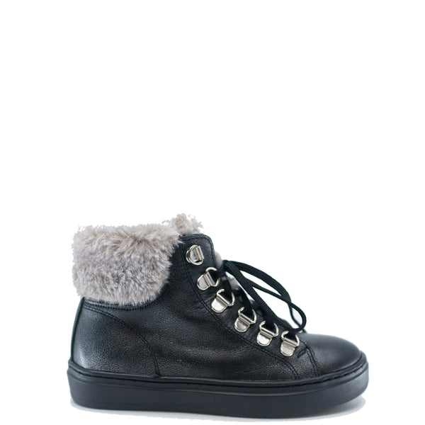 Blublonc Gunmetal and Fur Lace Up Sneaker Bootie-Tassel Children Shoes