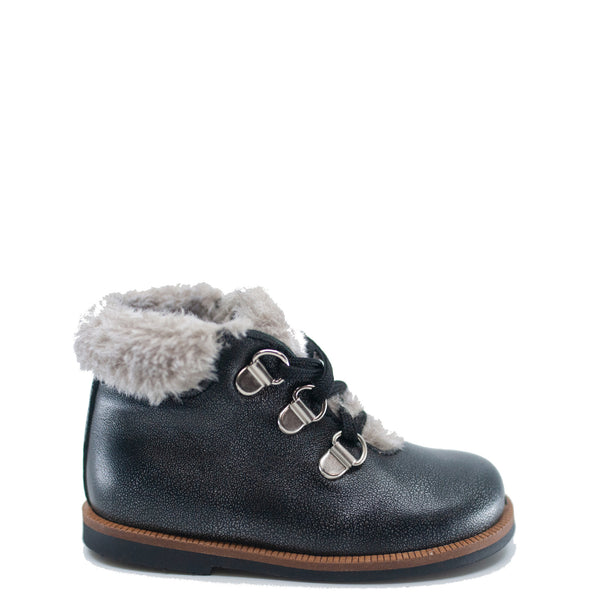 Blublonc Gunmetal Lace Up Baby Bootie-Tassel Children Shoes