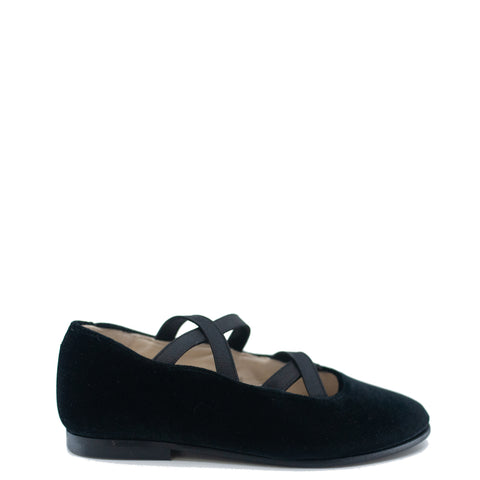 Sonatina Black Velvet Criss Cross Mary Jane-Tassel Children Shoes