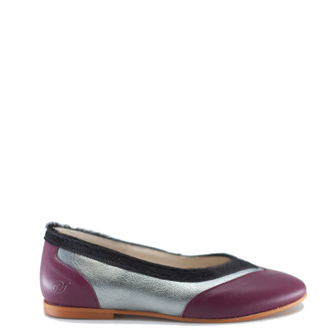 Sonatina Burgundy and Silver Ballet Flat-Tassel Children Shoes