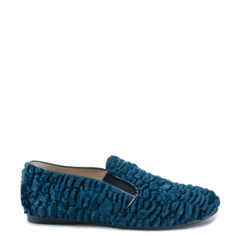 Sonatina Navy Shearling Smoking Loafer-Tassel Children Shoes