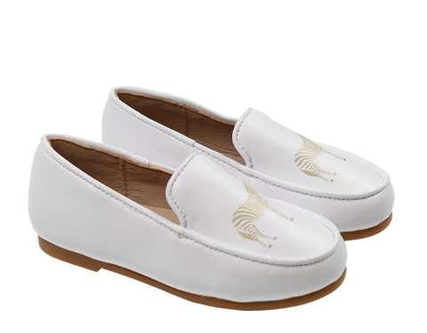 Zeebra All White Logo Loafers-Tassel Children Shoes
