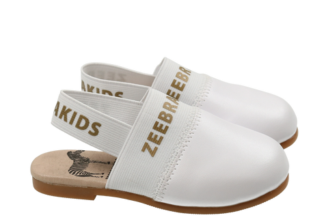 Zeebra All White Zeebrakids Mule-Tassel Children Shoes