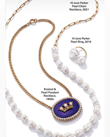 1stdibs feature holiday campaign Hi June Parker Pearl necklace pearl ring