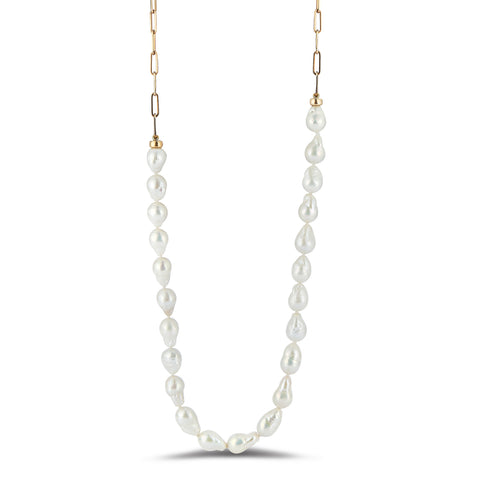 Convertable baroque pearl and chain necklace - long single strand