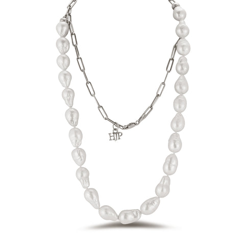 Convertable baroque pearl and chain necklace - doubled