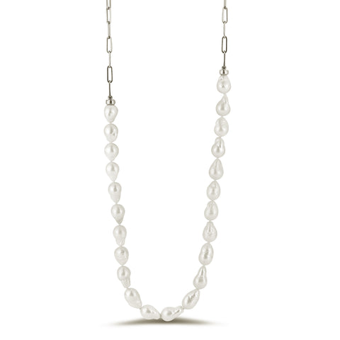 Blossom baroque pearl and paperclip chain necklace silver