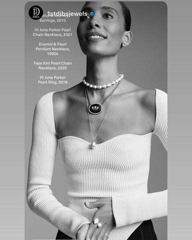 1stdibs holiday campaign feature Hi June Parker baroque pearl necklace