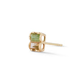 Bi-Color Tourmaline stud earring, single stud earring, 14k gold rectangle tourmaline stud