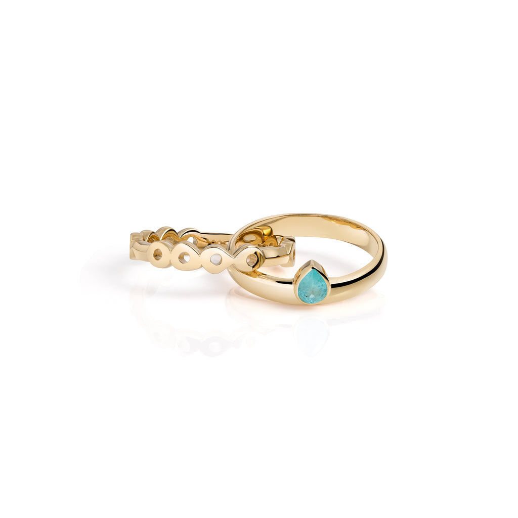 Rolling stackable ring bands, stacking gold rings, ring bands, wedding rings, engagement rings, linked rings, connected rings, 14k gold, paraiba tourmaline