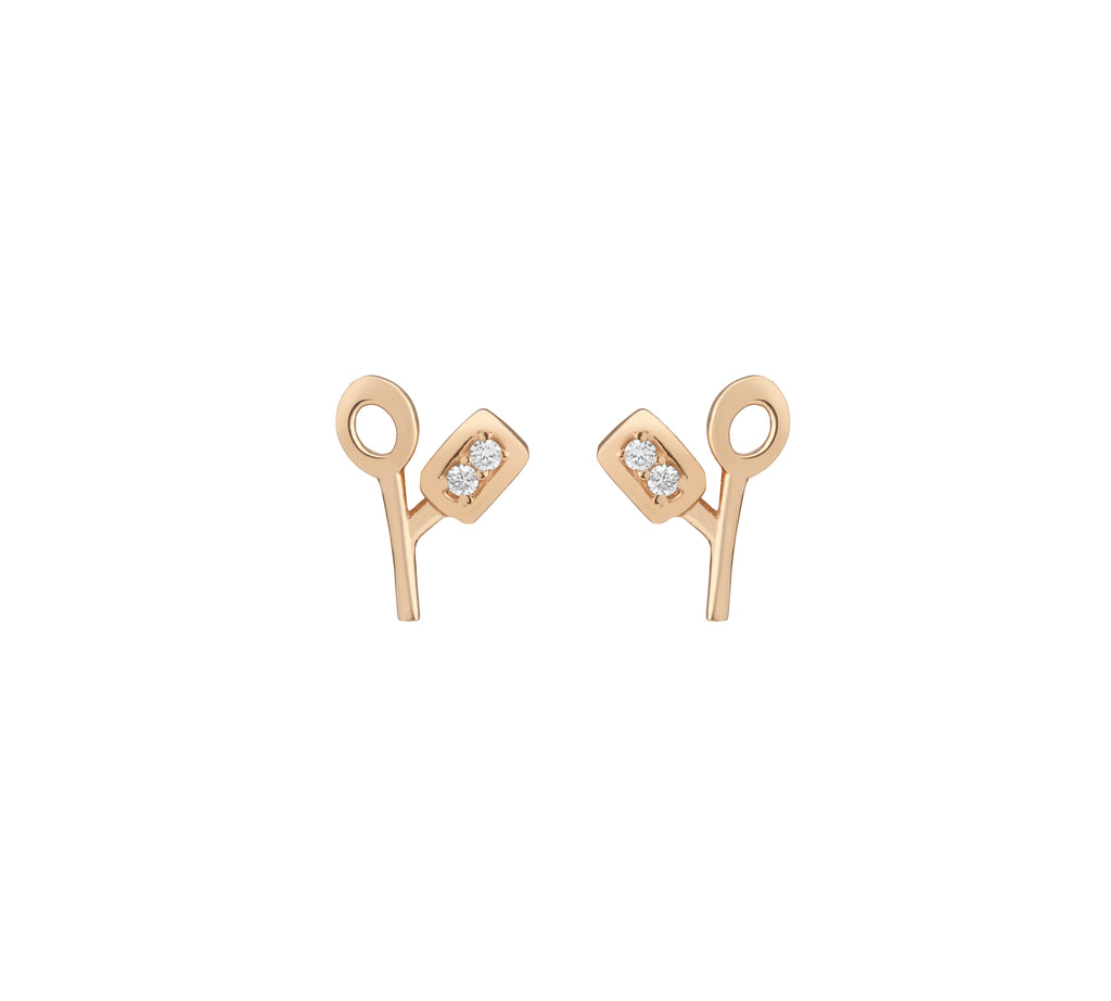 lab grown diamond stud earrings, sustainable diamond earrings, sustainable gold stud earrings, everyday diamond earrings, diamond foundry x hi june parker collaboration,