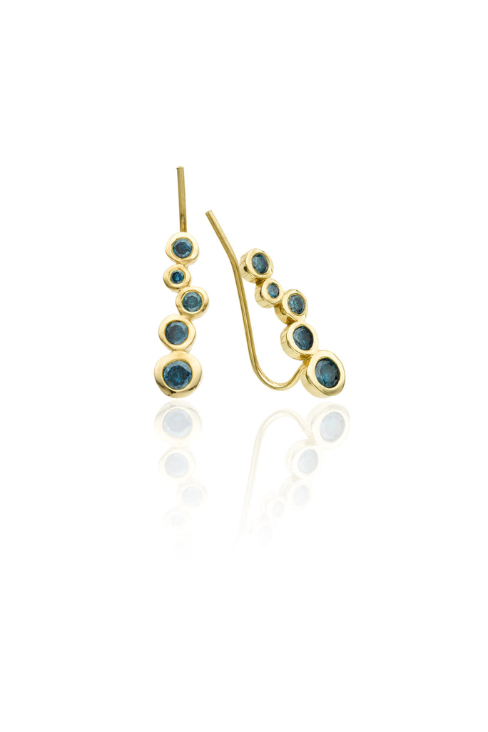 14k gold earring climber with blue diamonds