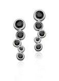Sterling silver earring climber with black diamonds, 14k white gold earring climber with black diamonds