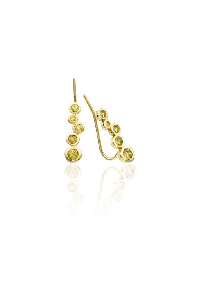 14k gold earring climber with yellow diamonds