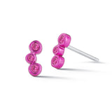 Electric Pink Mini 3-stone single stud earring