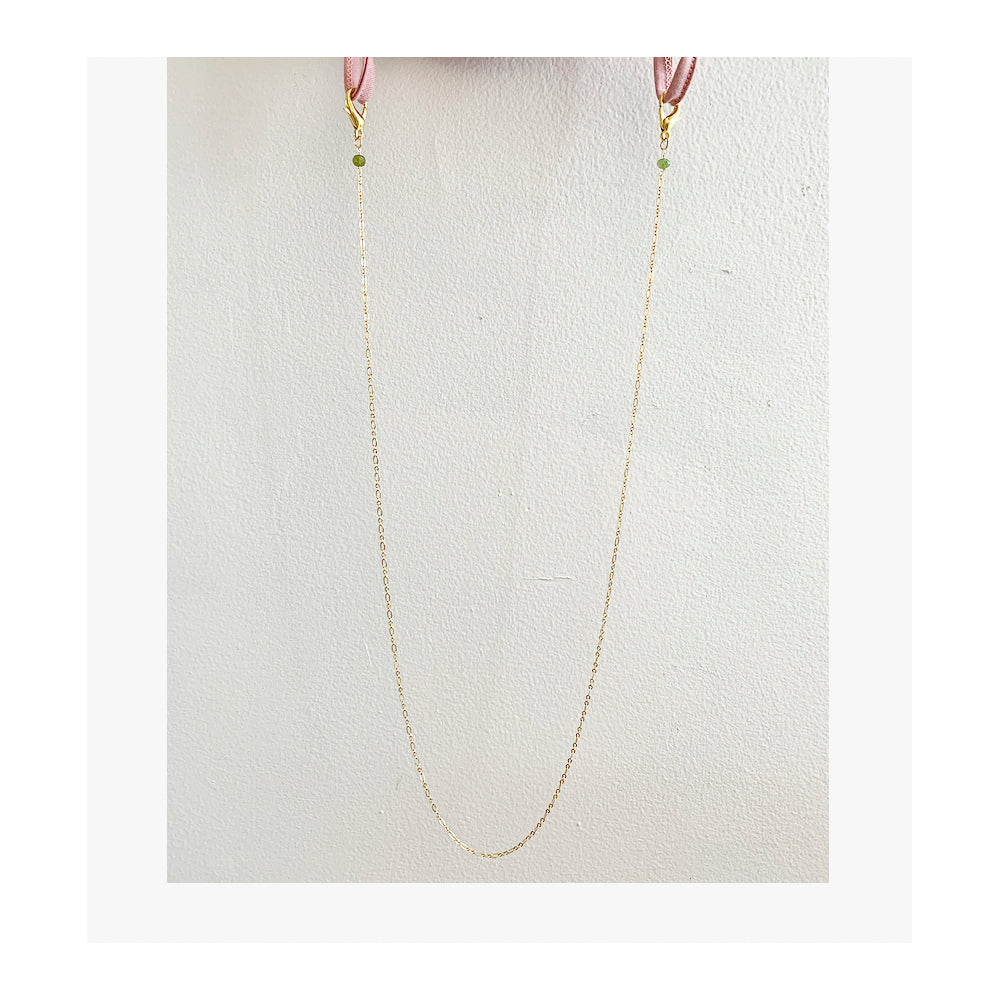 Green Garnet, mask chain, gold color