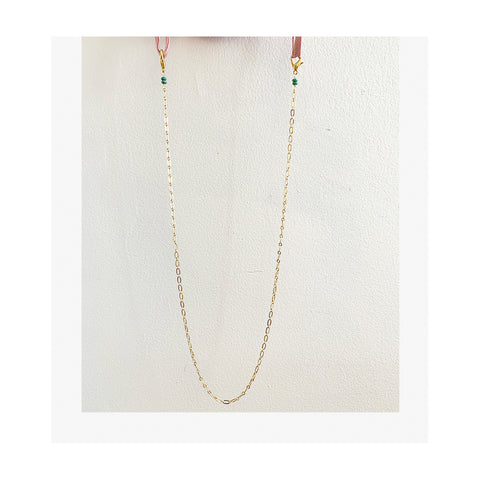 Peridot stone sterling silver rosary Face Mask Chain