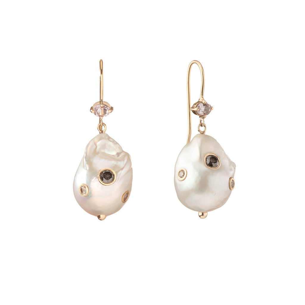 Large Baroque pearl with salt and pepper diamond statement earrings, pearl with embedded stones earrings, 14k gold pearl and morganite statement earrings