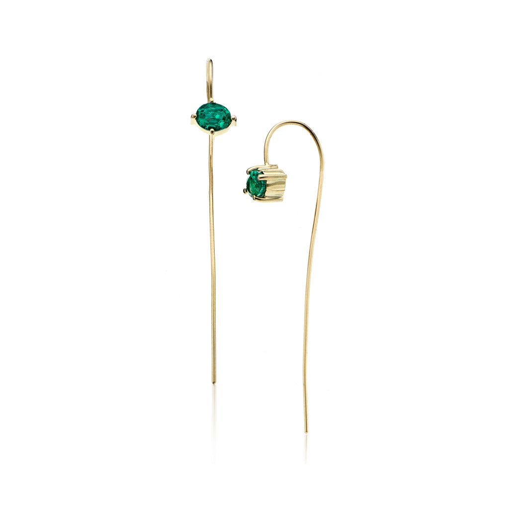 14k gold emerald stick earrings, gold linear earring with emerald stones