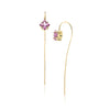 14k gold pink sapphire stick earrings, gold linear earring with princess cut pink sapphire stones
