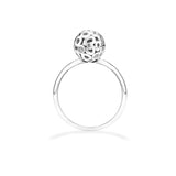 14k white gold sphere ring with diamonds, white gold ring with diamond disco ball
